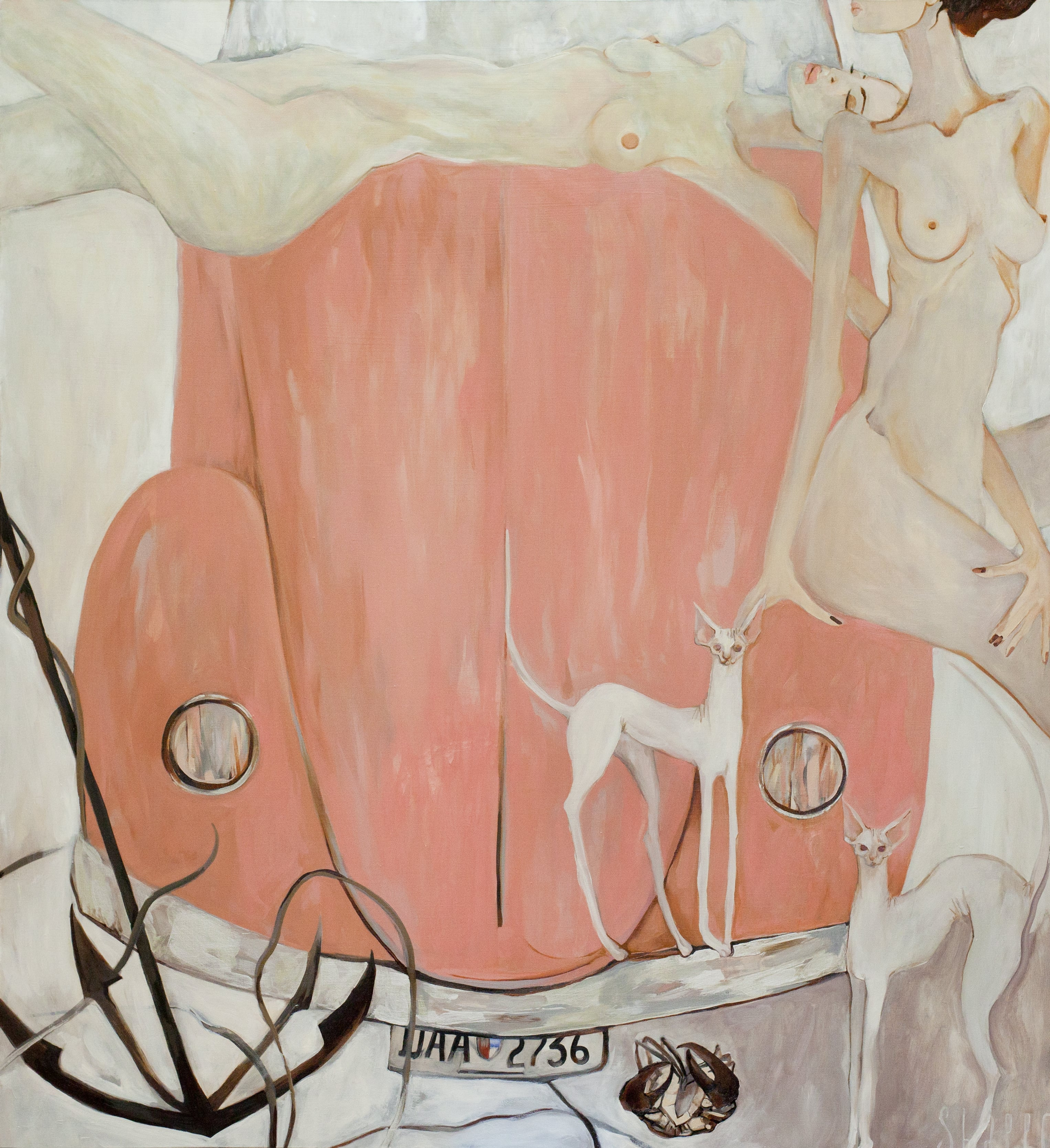 CATS AND AN OVERTURNED CRAB. canvas. oil. 180X200 cm.