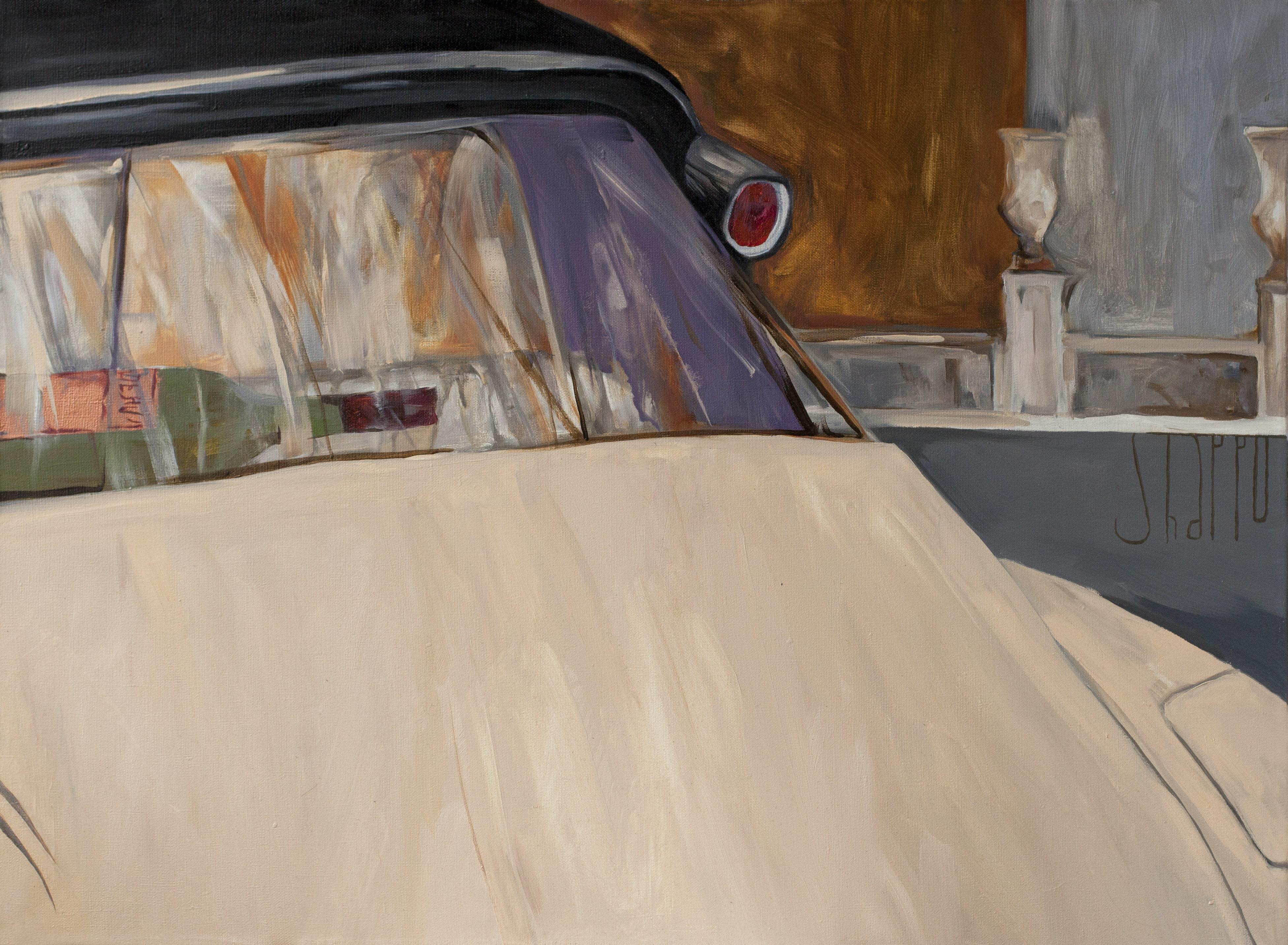 C-19 AND A BOTTLE OF BORDEAUX. canvas. oil. 55X75 cm.