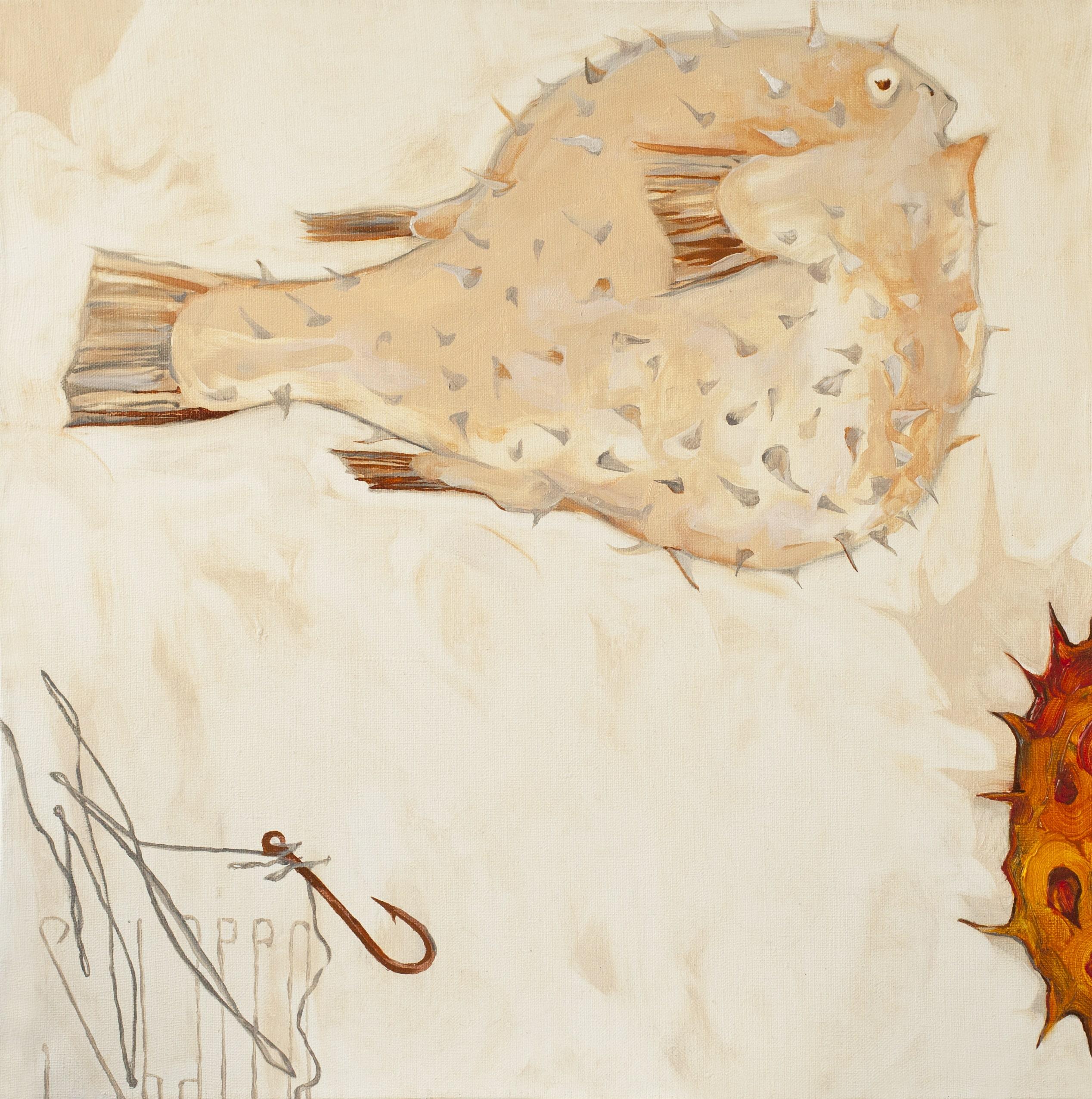 KIWANO AND FUGU. canvas. oil. 50X50 cm.