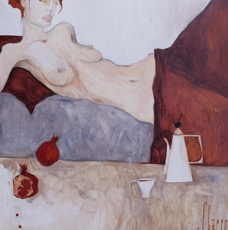 COFFEE WITH CINNAMON. canvas. oil. 100X100 cm.