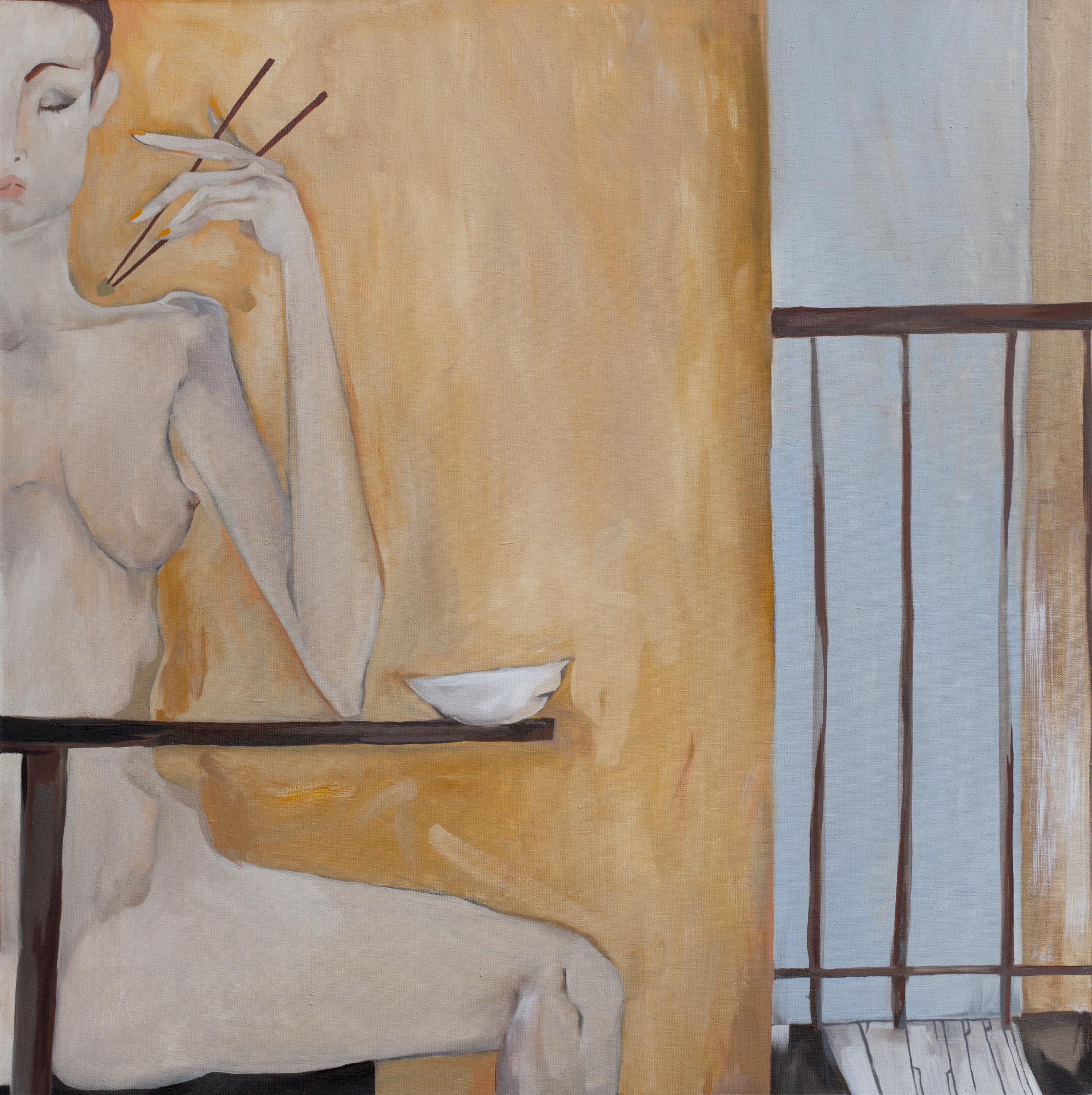 AVOCADO SALAD. canvas. oil. 100X100 cm.
