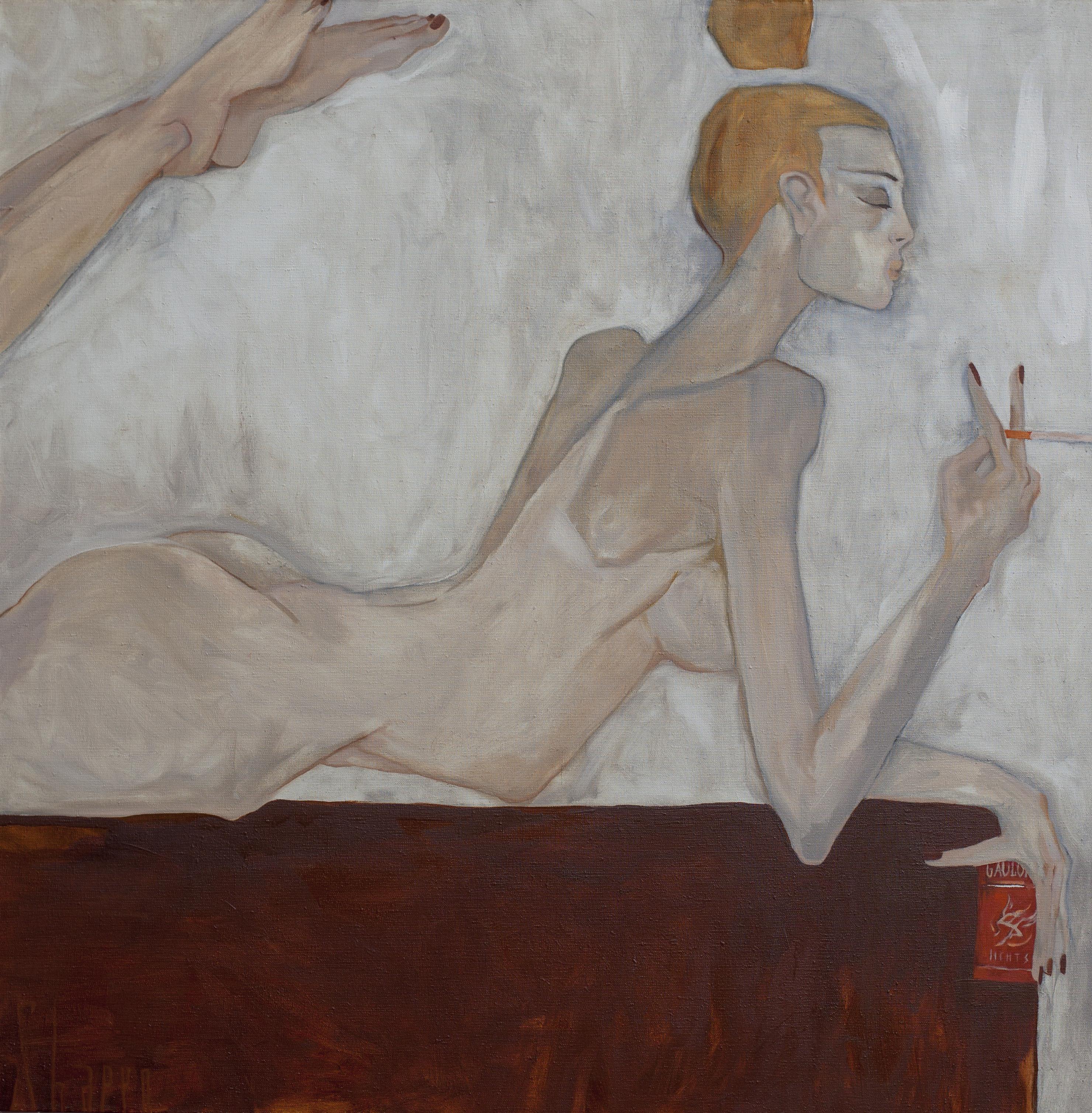 GAULOISES. canvas. oil. 100X100 cm.