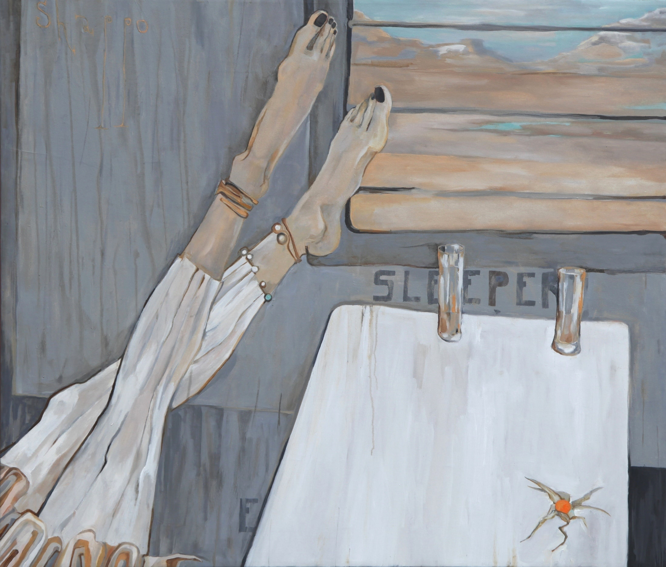 MY FELLOW TRAVELER ON THE SLEEPER. canvas. oil. 100X85 cm.