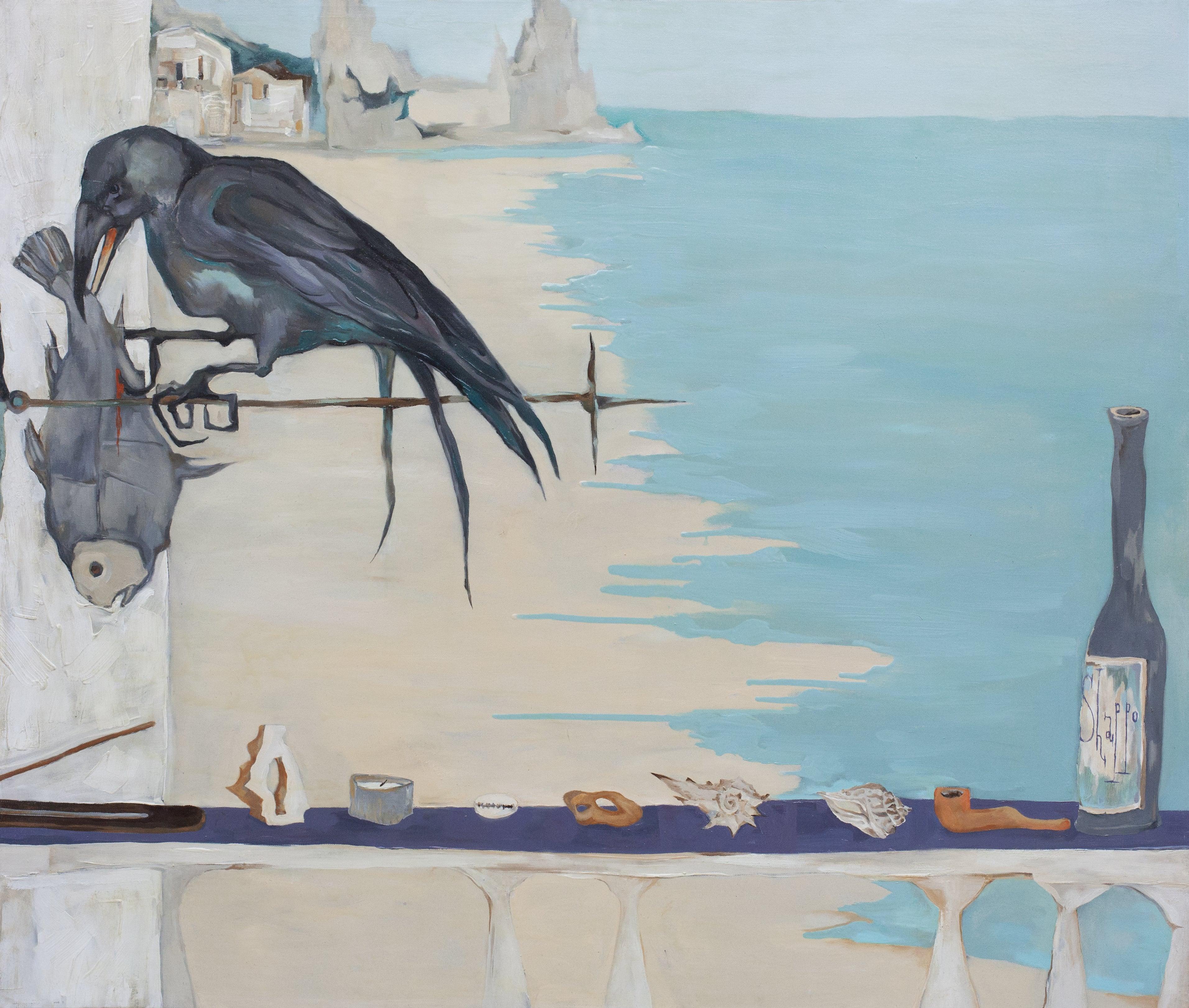 ON THE BALCONY. ARAMBOL BEACH. canvas. oil. 100X80 cm.