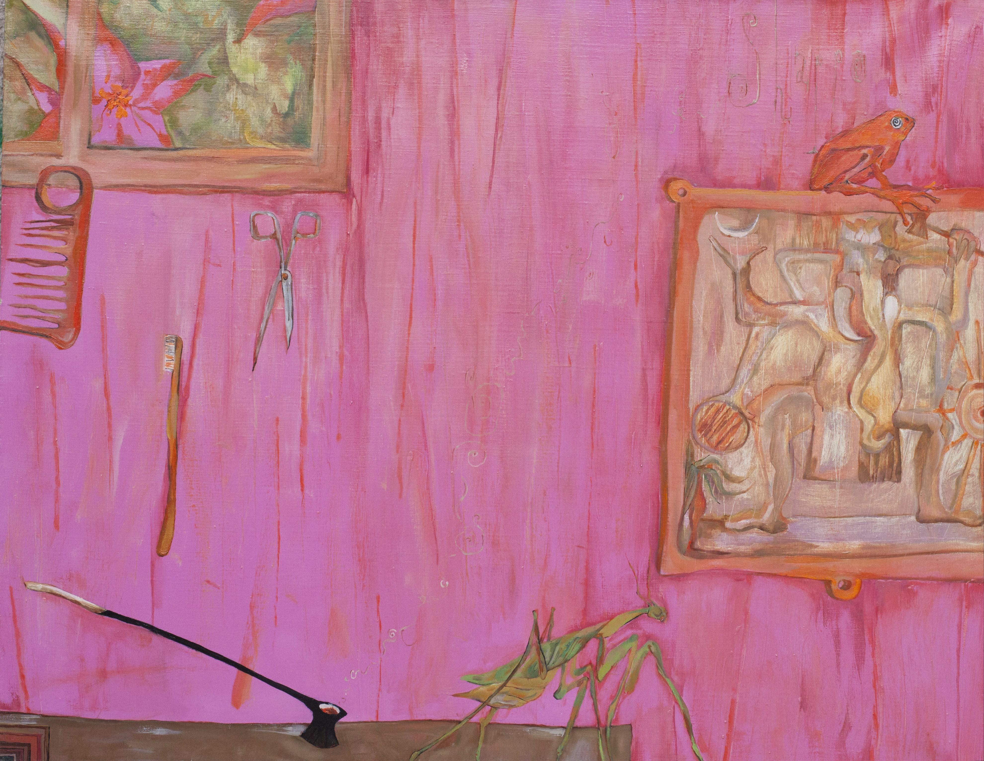 STILL IN MY ROOM. GOKARNA. canvas. oil. acrylic. 100X70 cm.