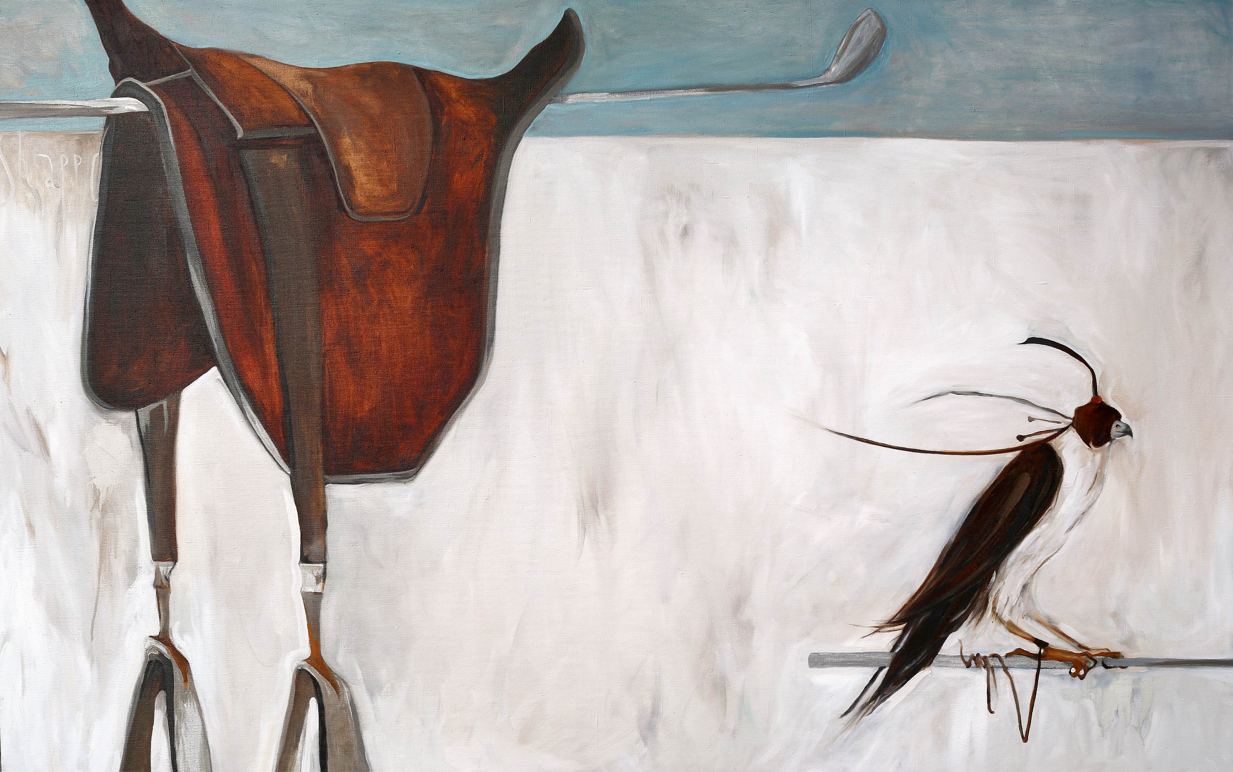 EXPECTING A GREAT HORSE RIDING. canvas. oil. 160X100 cm.