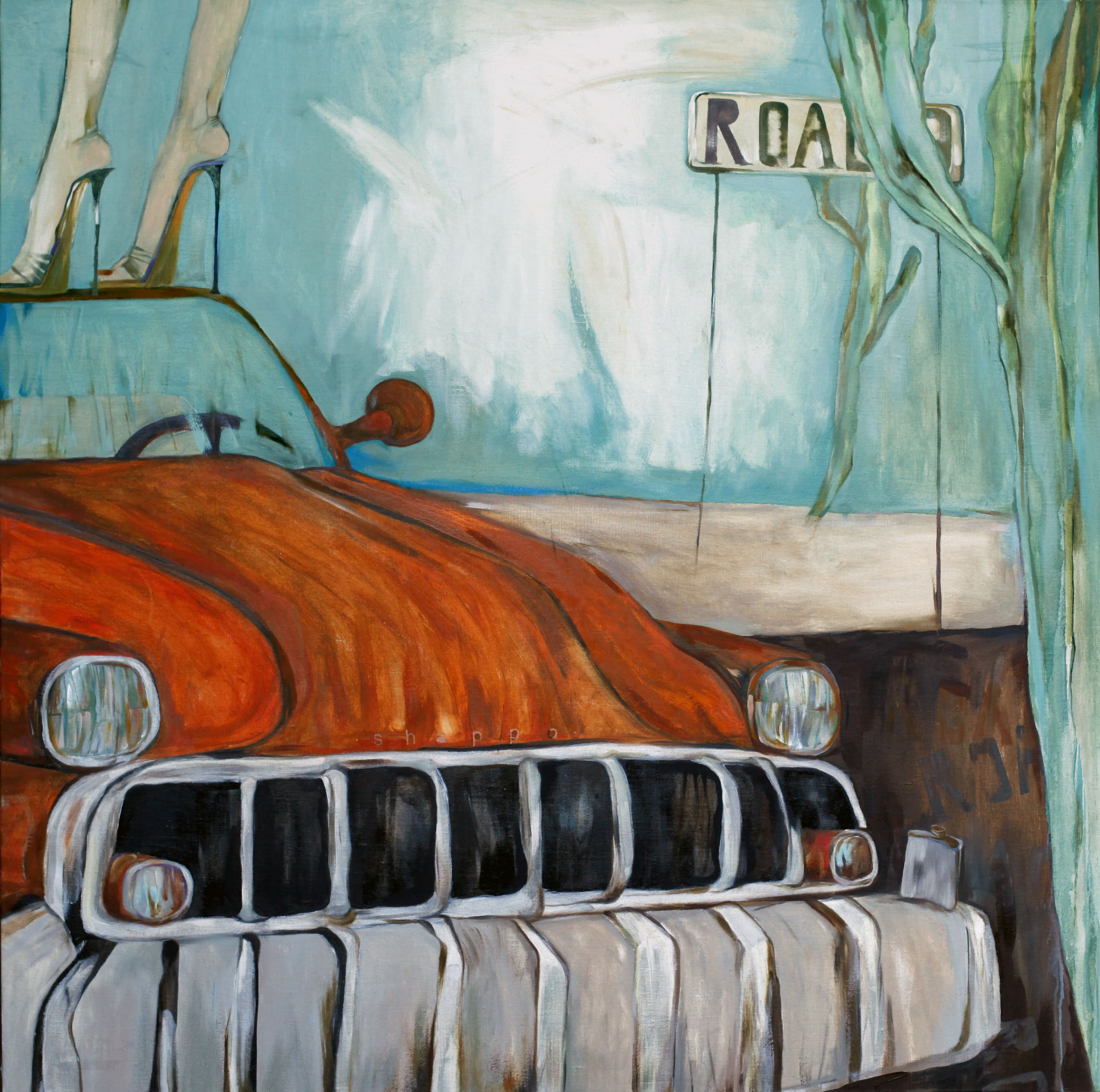STILL LIFE WITH A FLASK OR HIGHWAY № 9. canvas. oil. acrylic. 160X160 cm.